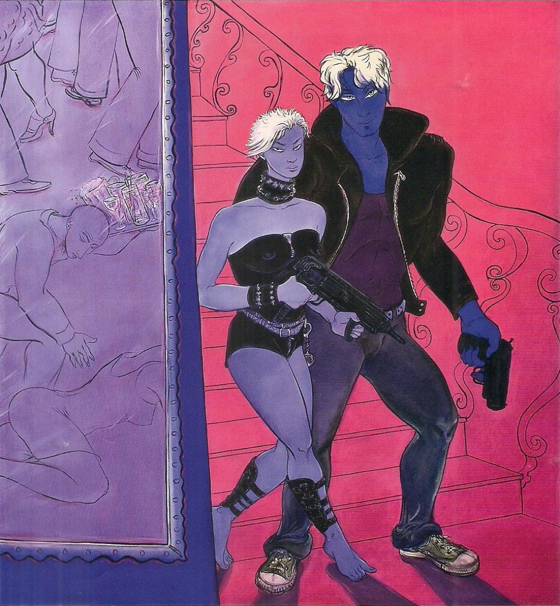 Rocio García. De la serie Very, very light… And very oscuro (Un policía con Alzheimer). Ling Cheng and Borishka llegan. 2009. Óleo sobre tela. 200 x 180 cm