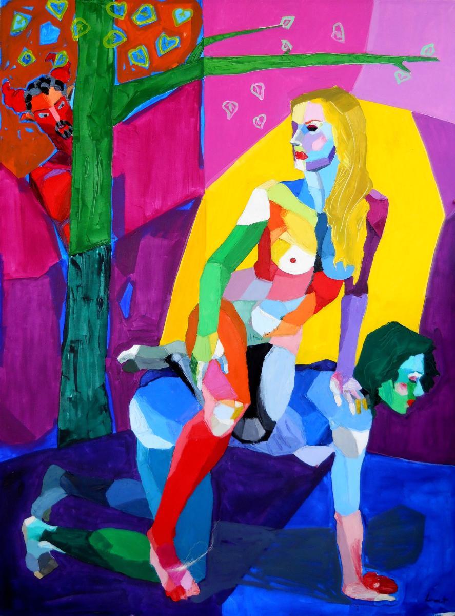 Lancelot Alonso (Exalumno de Rocio García) La reina del bosque. 2014. Técnica mixta sobre lienzo. 210 x 280 cm