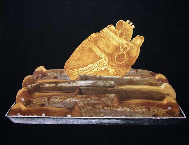 Autoretrato: El proceso II. 2006. Cenizas, carbón vegetal, arcilla y fotografía manipulada/ tela. 200 x 170 cm.