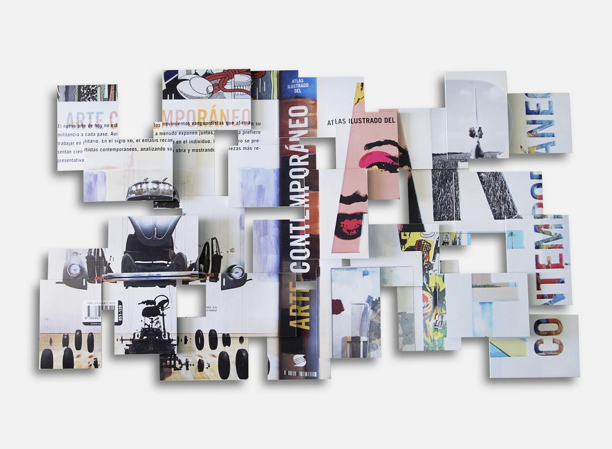 Arte Contemporáneo Cover. 2015. De la serie Art in theory… Impresión sobre vinilo, PVC y madera. 70 x 120 x 8 cm.