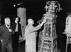 Slavko Kopac, Michel Thévoz y Jean Dubuffet en la Collection de l'Art Brut, febrero de 1976.