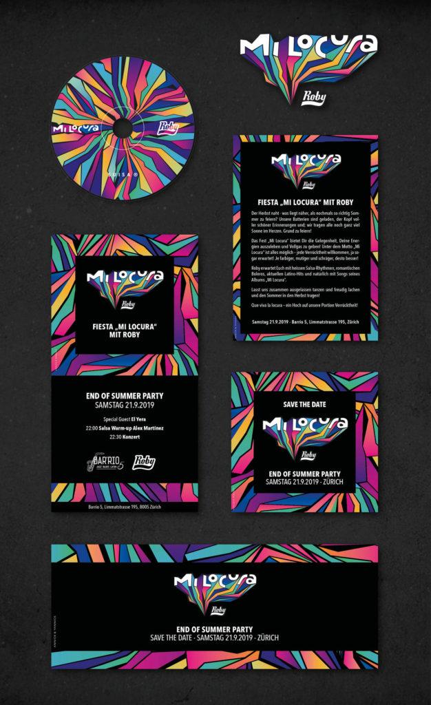 Identidad visual, Dirección de Arte, Diseño de portada y diseño promocional para el Album «Mi Locura», del músico cubano establecido en suiza Roby Pulido
