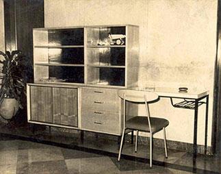 Del Plan Camagüey, 1963: módulo esencialmente de madera prensada. Diseño de Gonzalo Córdoba y su equipo de trabajo.