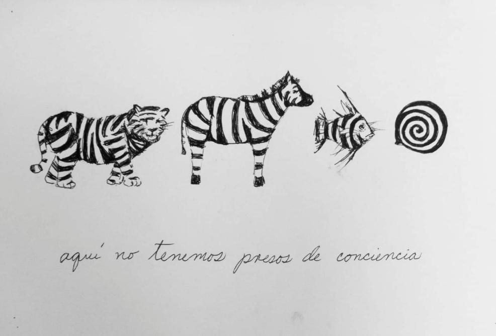 Camila Lobón: Aquí no tenemos presos de conciencia / 2020 / Dibujo.