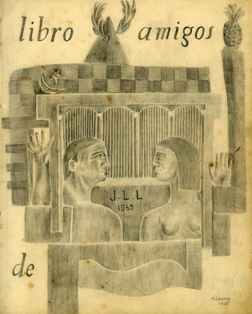 Grafito de Alfredo Lozano, de 1965, el cual inaugura visualmente el estremecedor y delicado álbum de los amigos de Lezama y que se conserva en el Fondo José Lezama Lima, de nuestra Biblioteca Nacional. (Fotografía facilitada por la Biblioteca Nacional de Cuba José Martí).