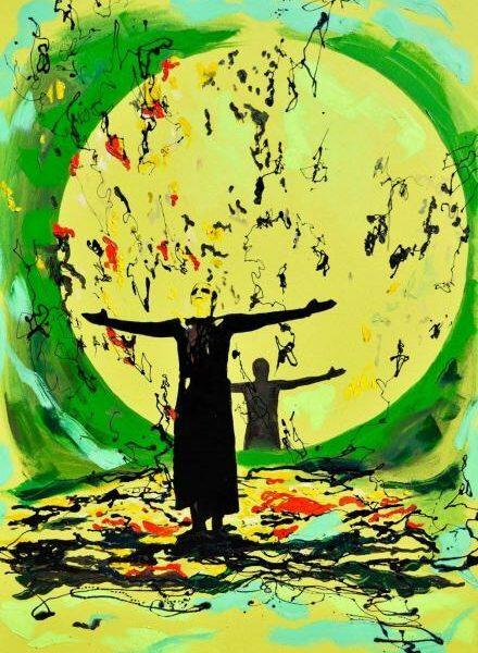 Ojalá que llueva, 2016. Serie Los soportables pesos del ser. Esmalte sobre vinil. 145 x 100 cm.