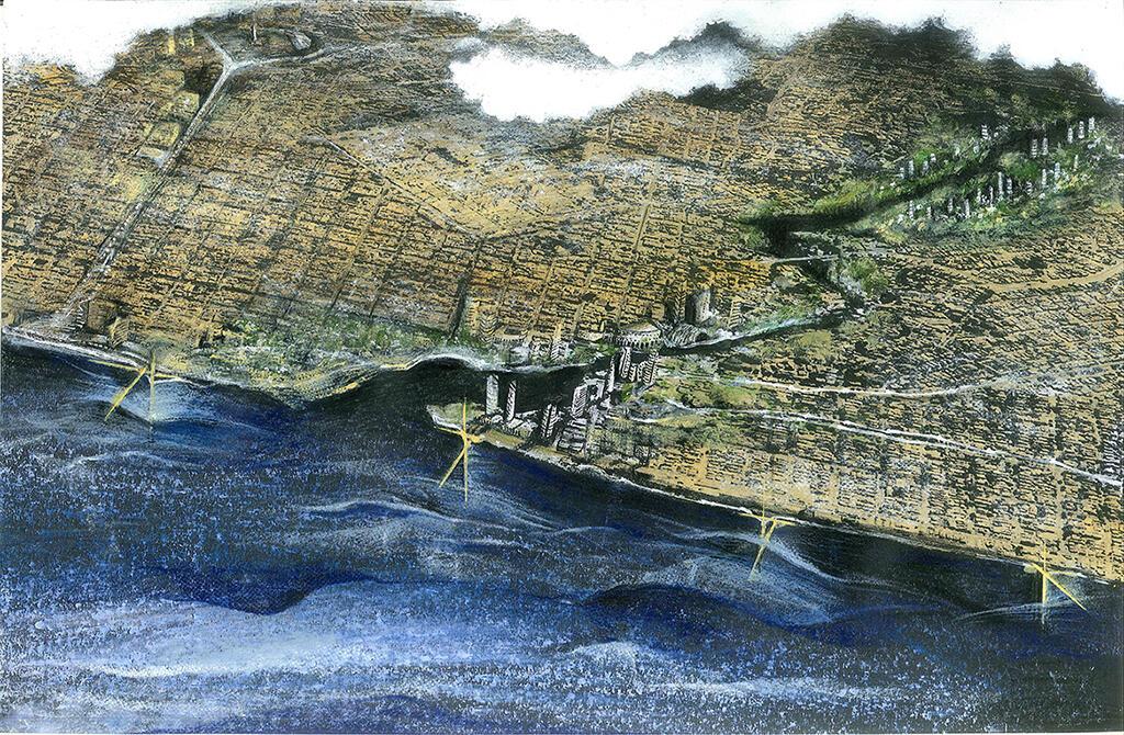 Detalle del proyecto, al occidente del Malecón habanero: se propone un centro urbano de alta densidad para actividades inmobiliarias y terciarias. Dibujo de J. A. Choy.