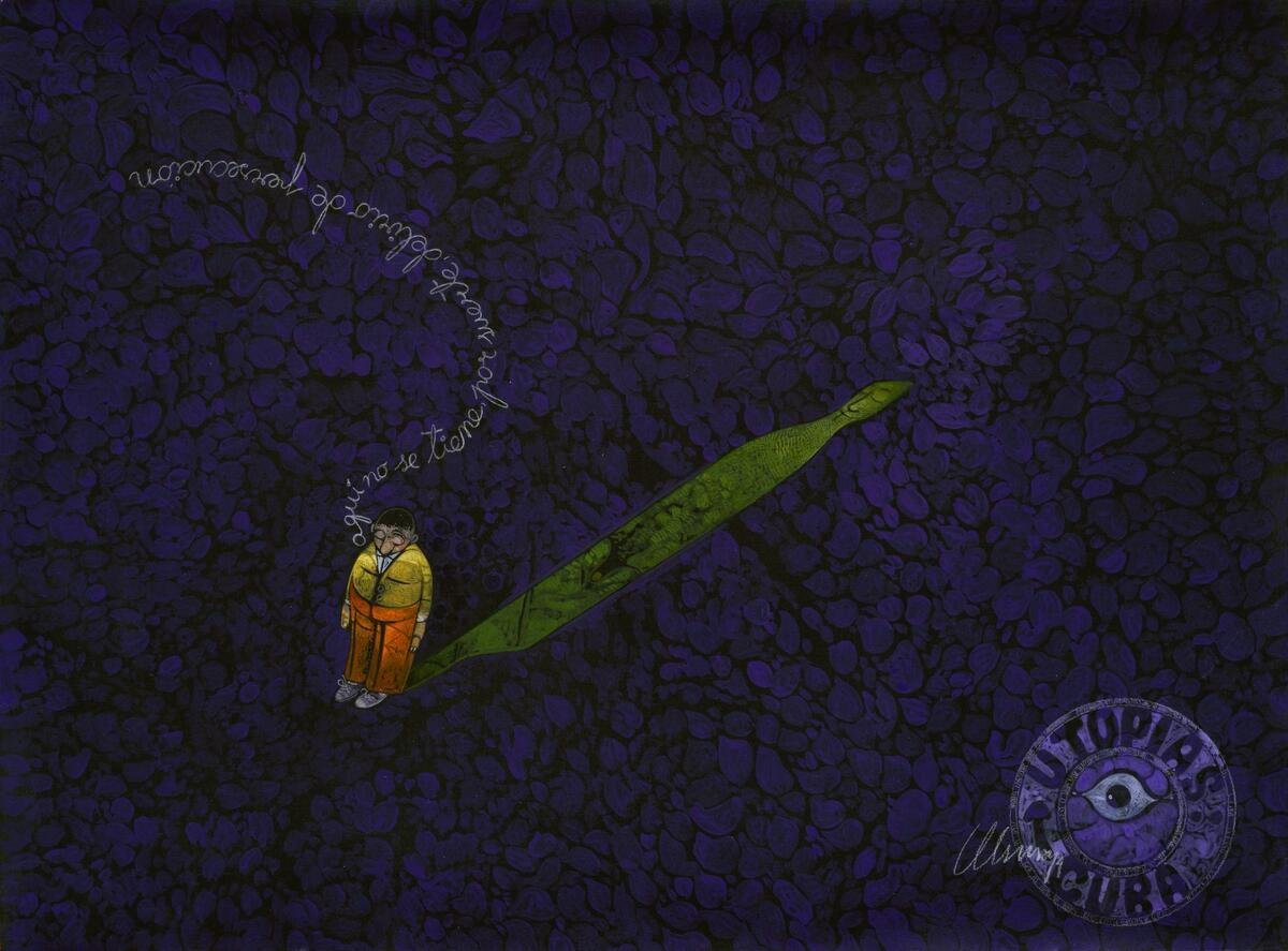 """Las extrañas divagaciones de Utopito, 2014. De la serie Utopías y Disidencias Técnica mixta sobre cartulina 75 x 55 cm """"Aquí no se tiene, por suerte, delirio de persecución""""."""