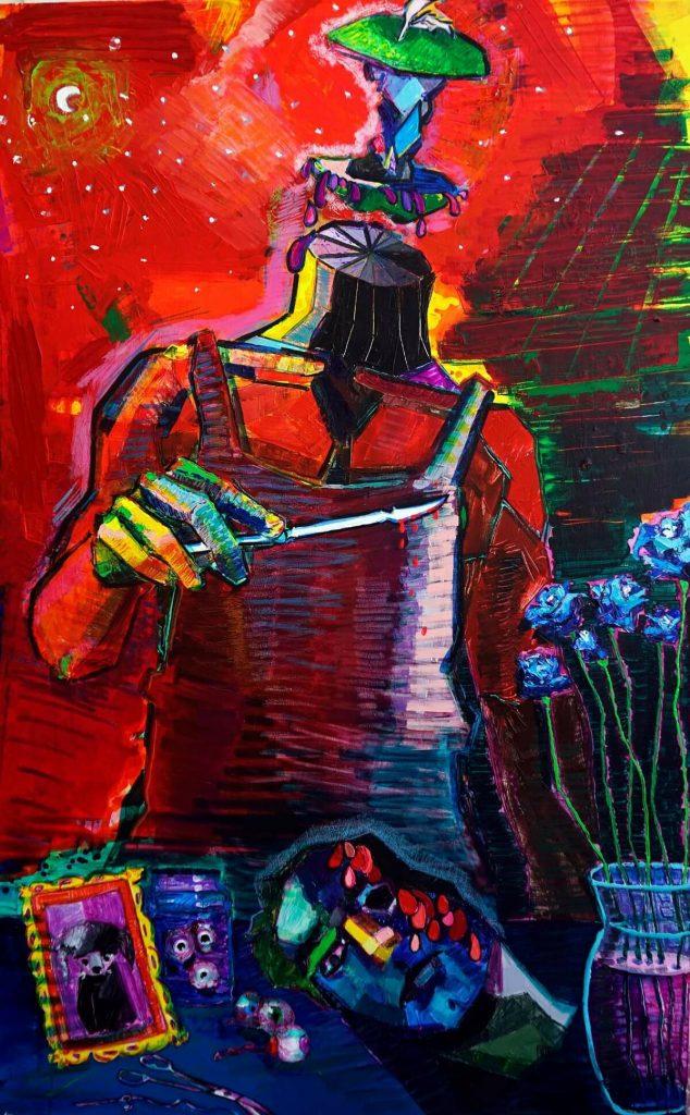 Rosas azules (2020). Técnica mixta. 210 x 140 cm