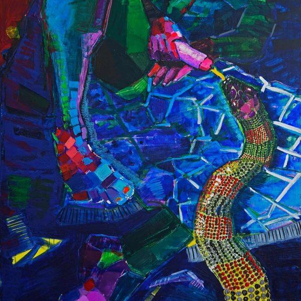 La serpiente y yo (2020). Técnica mixta. 210 x 140 cm