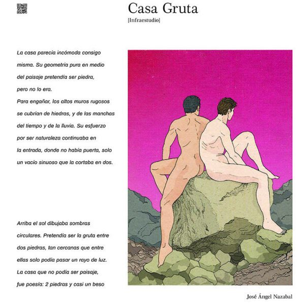 Pieza conjunta: texto de Infraestudio sobre su proyecto Casa Gruta e ilustración de José Ángel Nazabal. Del proyecto E'piritismo Cubano, plataforma de estética (2019).