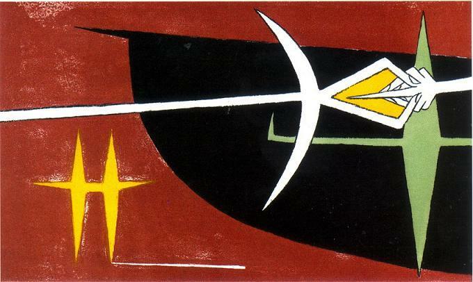 La Terre inquiète/La tierra inquieta, 1955. Edición de cuatro litografías en colores realizadas por Wifredo Lam para ilustrar la obra homónima de Édouard Glissant, París, Editions du Dragon, 1955. Colección Museo Nacional de Bellas Artes de La Habana.