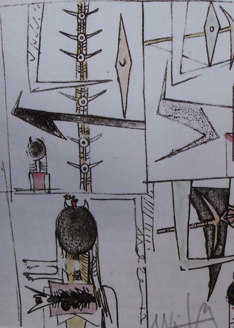 Una de las litografías de la edición. Tomado de: Tonneau-Ryckelynck, Dominique y Pascaline Dron.Wifredo Lam, oeuvre gravé et lithographié. Catalogue raisonné. Gravelines, Éditions du Musée des Gravelines, 1994, ilus .5505, pág. 52.