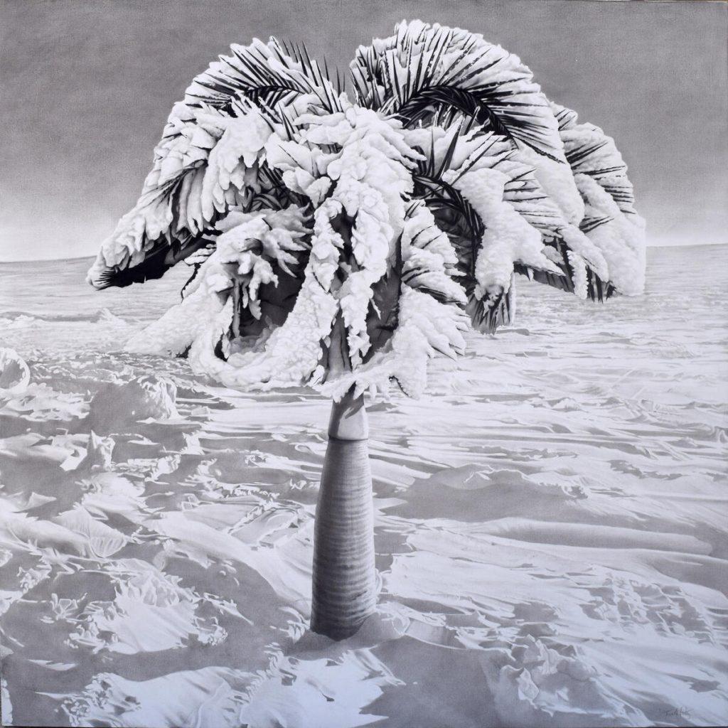 Antes del amanecer / 2021 / Carbón sobre tela / 200 x 200 cm